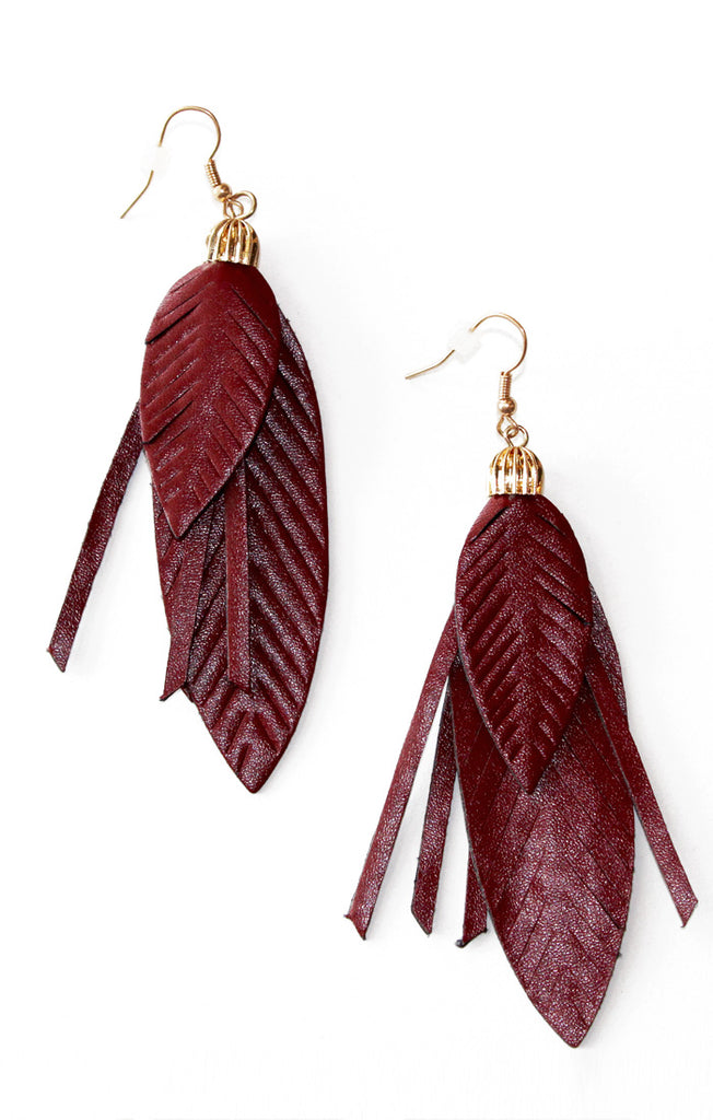 Faux Leather Garnet Feather Earrings