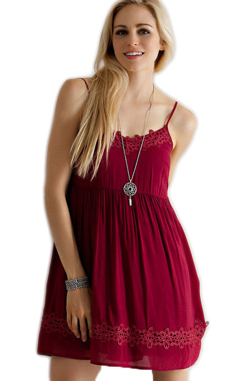 Garnet Lace Babydoll Game Day Dress