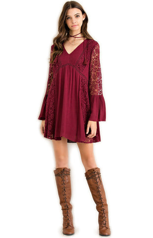 Garnet Lace Bell Sleeve Game Day Dress Game Day Dresses Entro - Bows and Arrows FSU Seminoles and UF Gators Women's Game Day Dresses and Apparel