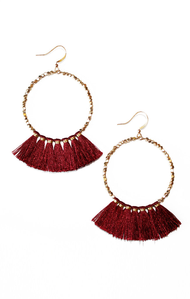Garnet Beaded Tassel Earrings