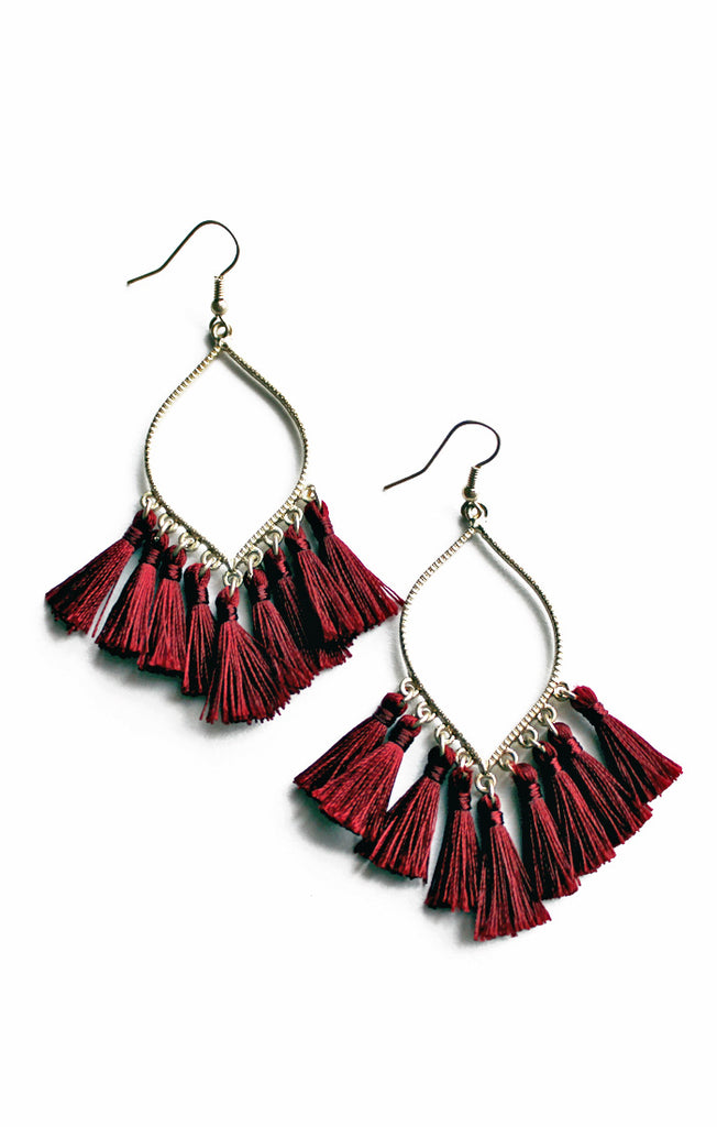 Garnet Marquise Tassel Earrings