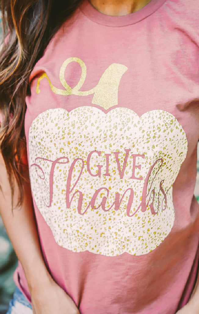 Give Thanks Glitter Graphic Tee
