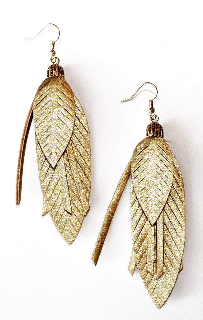Gold Faux Leather Feather Earrings