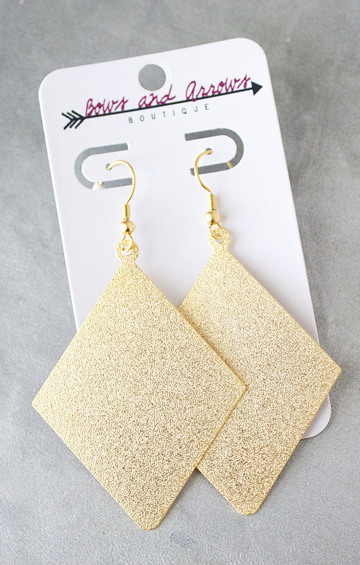 Gold Glitter Rhombus Earrings (4440802230320)