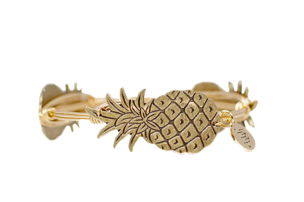 The Gold Pineapple Bangle Bracelet Bangle Bourbon and Boweties - Bows and Arrows FSU Seminoles and UF Gators Women's Game Day Dresses and Apparel