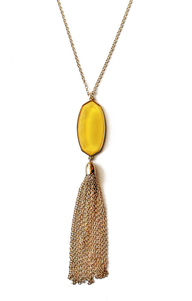 Gold Stone Pendant Necklace