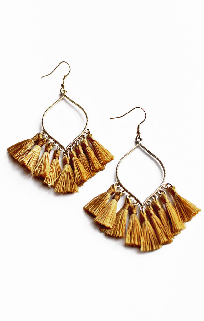 Gold Marquise Tassel Earrings