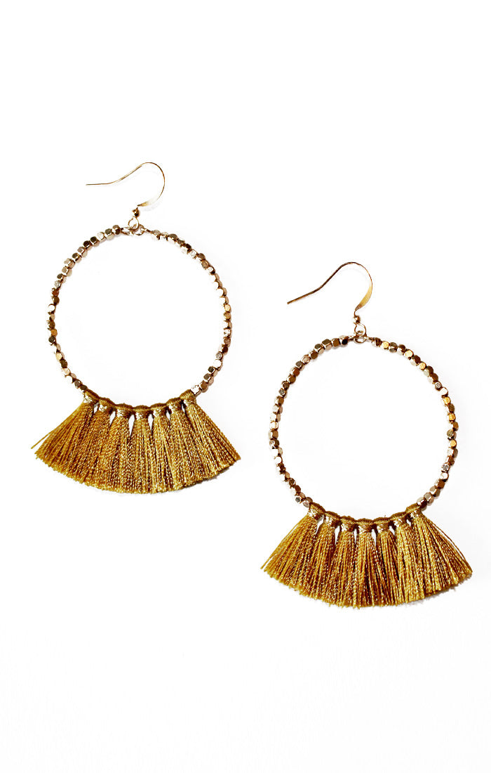 Gold Beaded Tassel Earrings (3799759650864)