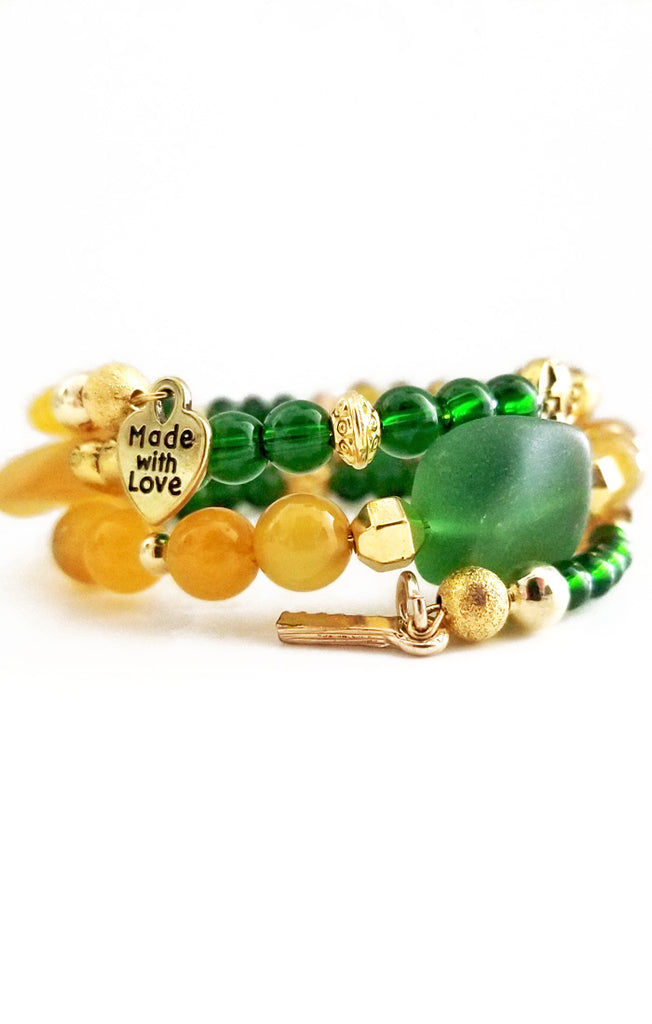 Green and Gold Wire Wrapped Bracelet