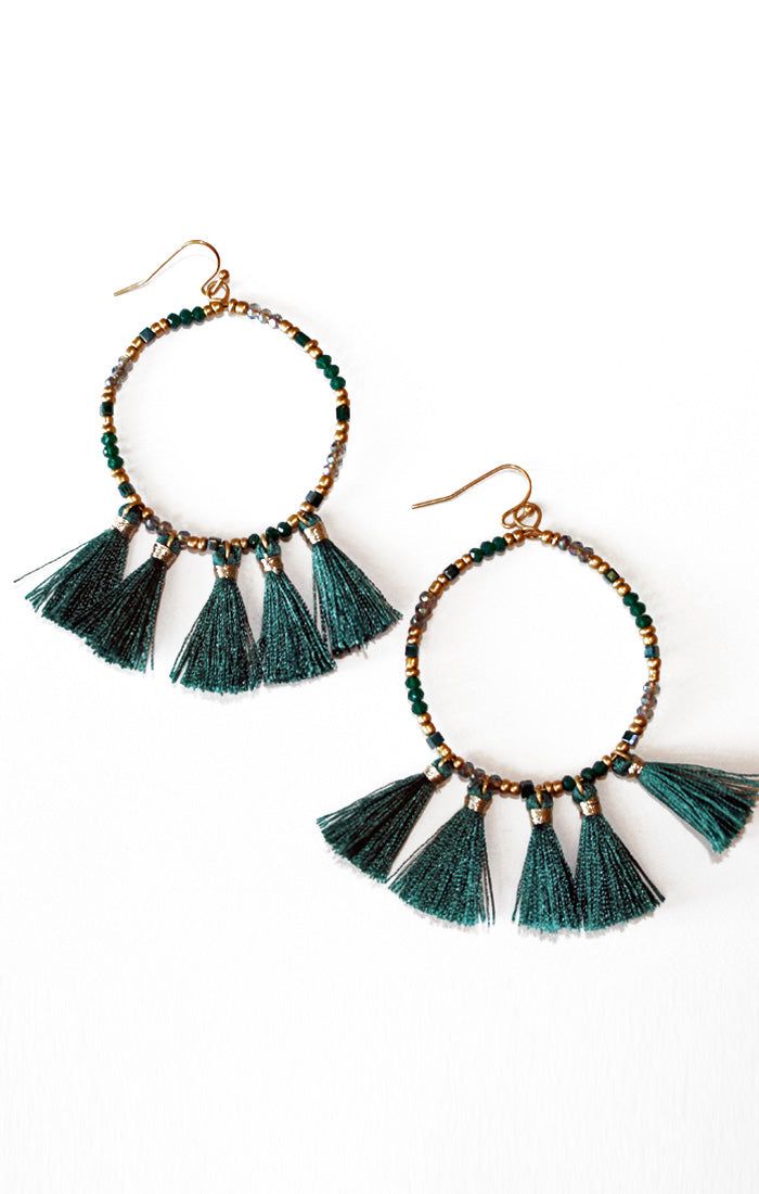 Green Beads and Tassels Earrings (3799780130864)