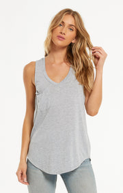 The Pocket Racer Tank (Heather Grey)