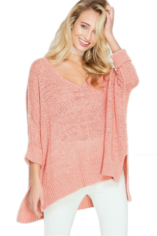 High-Low Oversized Beach Sweater - Coral Sweater She & Sky - Bows and Arrows FSU Seminoles and UF Gators Women's Game Day Dresses and Apparel