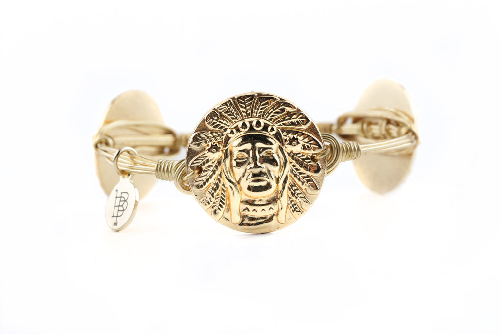 Bourbon and Boweties - Gold Indian Head Bangle Jewelry Bourbon and Boweties - Bows and Arrows FSU Seminoles and UF Gators Women's Game Day Dresses and Apparel