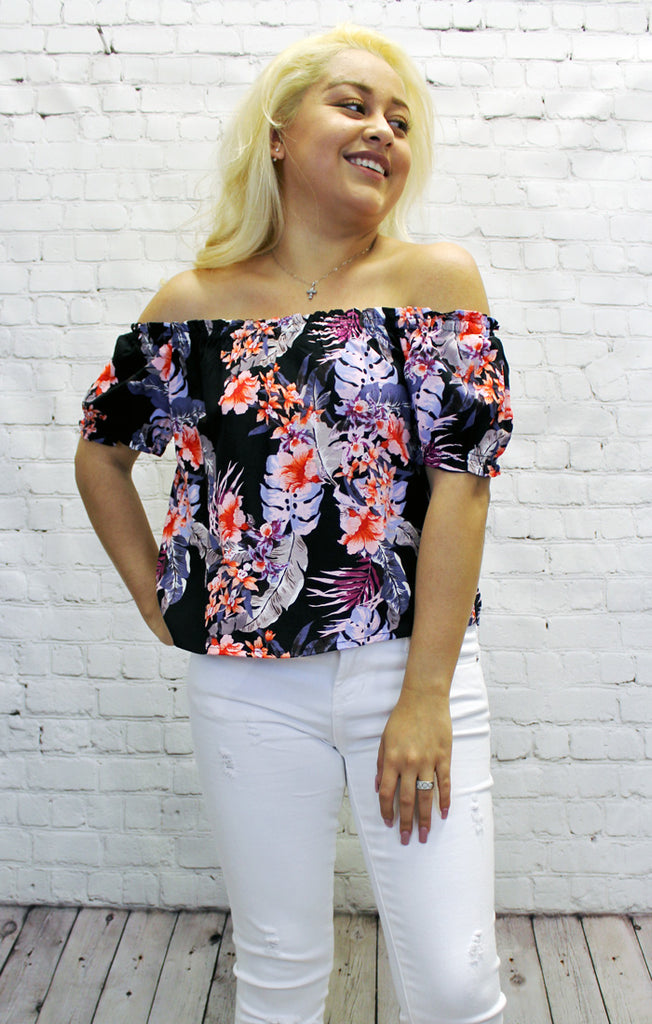 Wild Hibiscus Off Shoulder Top