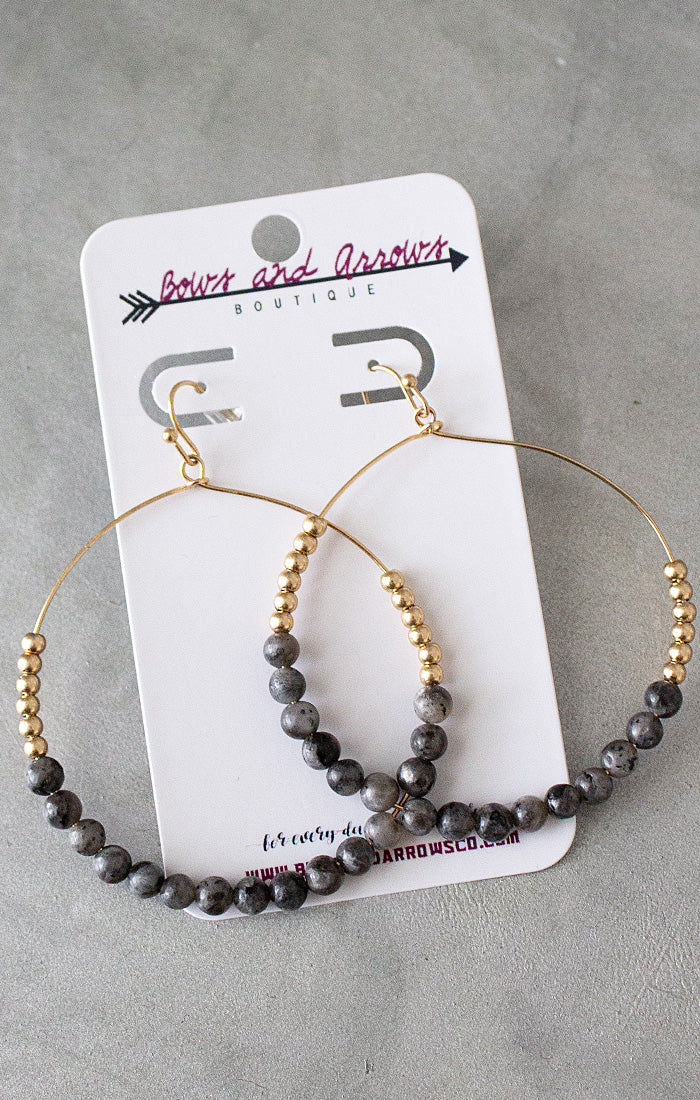 Stone Bead Circle Earrings - Jet