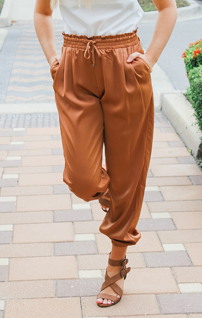The Classic Satin Jogger (Camel)