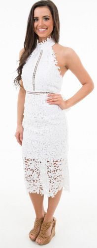 Lovely in Lace White Eyelet Midi Dress