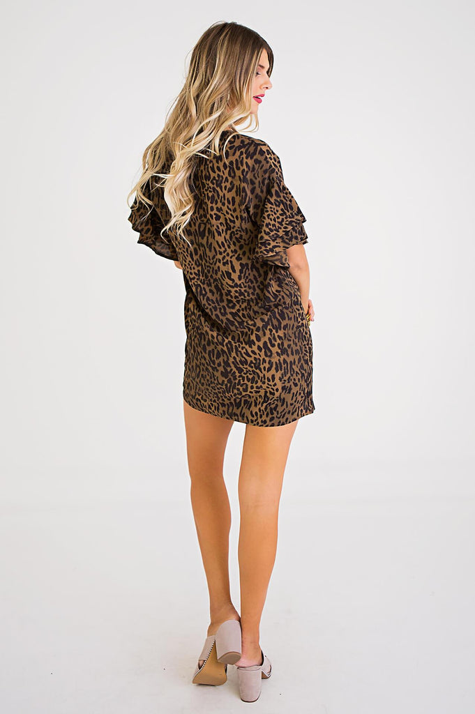 The Laila Leopard V-Neck Ruffle Sleeve Dress