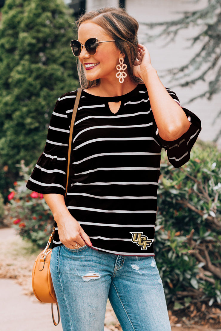 UCF Knights Go with the Flow Striped Keyhole Ruffle Top (3835846852656)