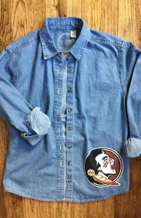 Seminole Chambray Button Up Tee Kickoff Couture - Bows and Arrows FSU Seminoles and UF Gators Women's Game Day Dresses and Apparel