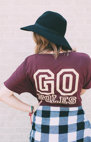 Go 'Noles Slouchy V-Neck Tee Kickoff Couture - Bows and Arrows FSU Seminoles and UF Gators Women's Game Day Dresses and Apparel