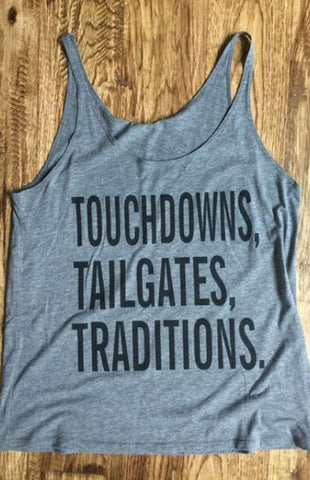 Touchdowns, Tailgates, Traditions Tank - Grey Tank Kickoff Couture - Bows and Arrows FSU Seminoles and UF Gators Women's Game Day Dresses and Apparel