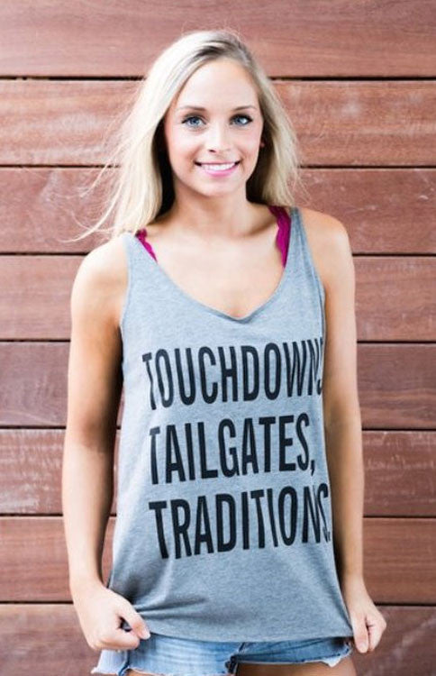 Touchdowns, Tailgates, Traditions Tank - Grey Tank Kickoff Couture - Bows and Arrows FSU Women's Game Day Dresses and Apparel