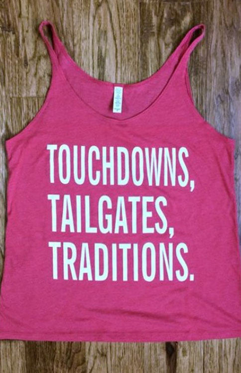 Touchdowns, Tailgates, Traditions Tank - Red Tank Kickoff Couture - Bows and Arrows FSU Seminoles and UF Gators Women's Game Day Dresses and Apparel