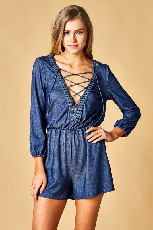 Lace-Up Denim Chambray Romper Romper BD Collection - Bows and Arrows FSU Seminoles and UF Gators Women's Game Day Dresses and Apparel