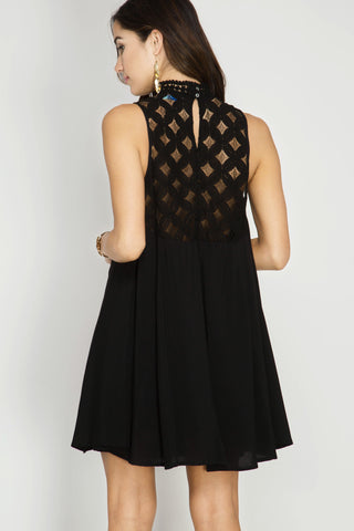 Lacey High Neck Swing Dress