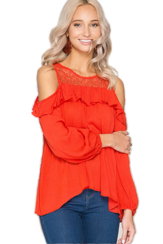 Lacey Red Cold Shoulder Top Cold Shoulder Top She & Sky - Bows and Arrows FSU Seminoles and UF Gators Women's Game Day Dresses and Apparel