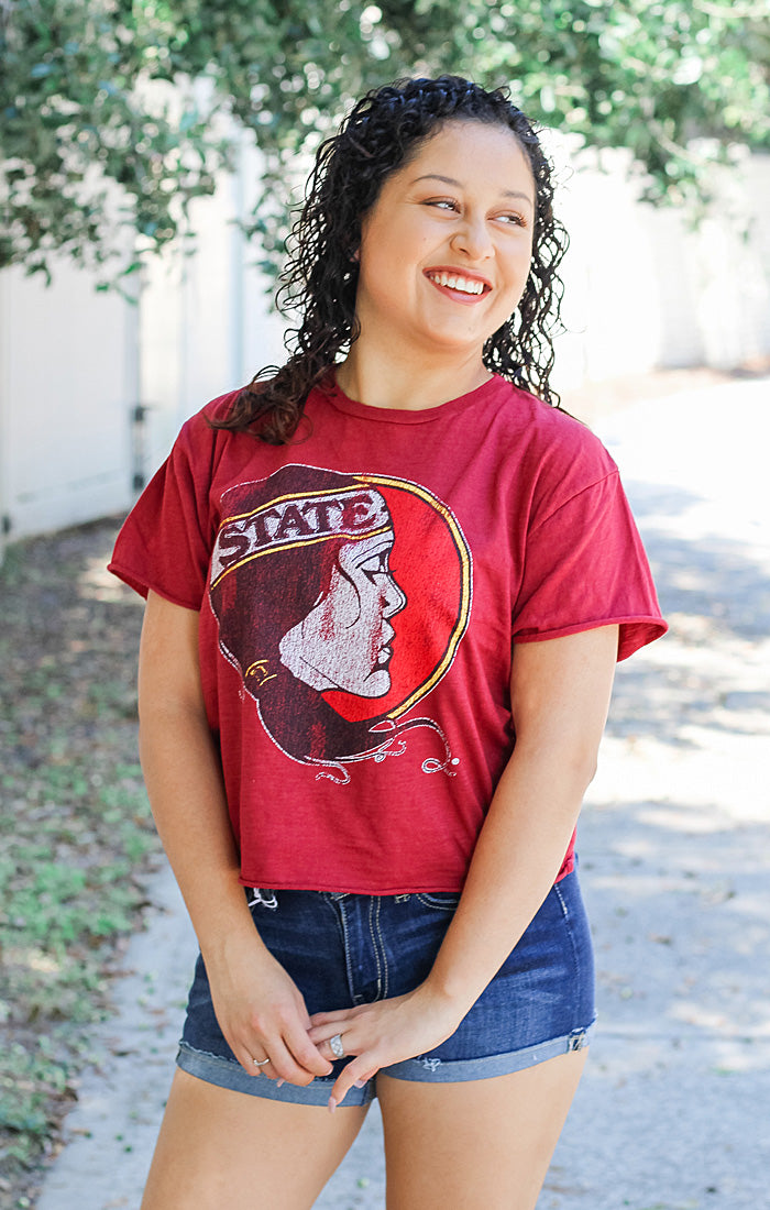 The Erin Lady Seminole Cropped Tee (Garnet)
