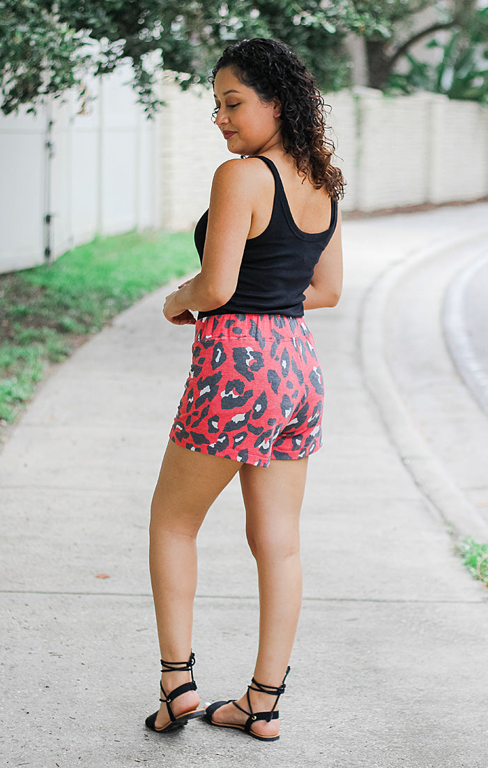 The Leopard Print Black & Red Terry Shorts