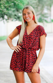 The Leopard Print Black & Red Tie Front Romper