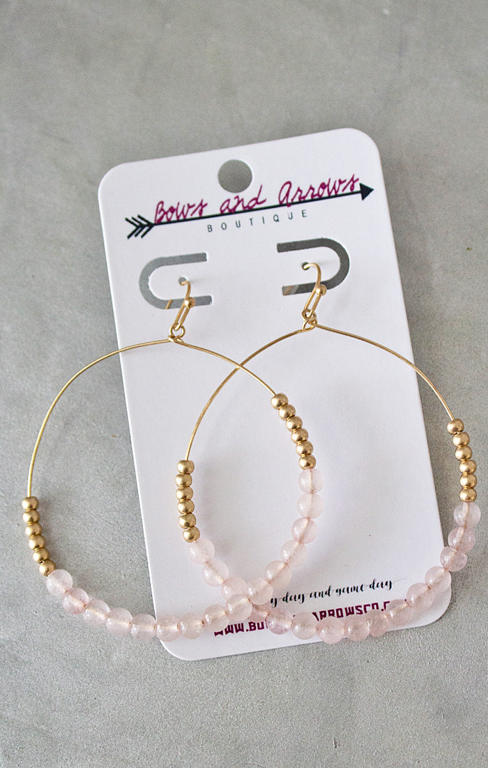 Stone Bead Circle Earrings - Rose (4440785190960)