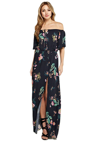 Flirty Floral Off Shoulder Maxi Dress Maxi Dress Love Stitch - Bows and Arrows FSU Seminoles and UF Gators Women's Game Day Dresses and Apparel