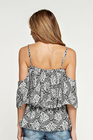 Black & White Geo-Print Cold Shoulder Top