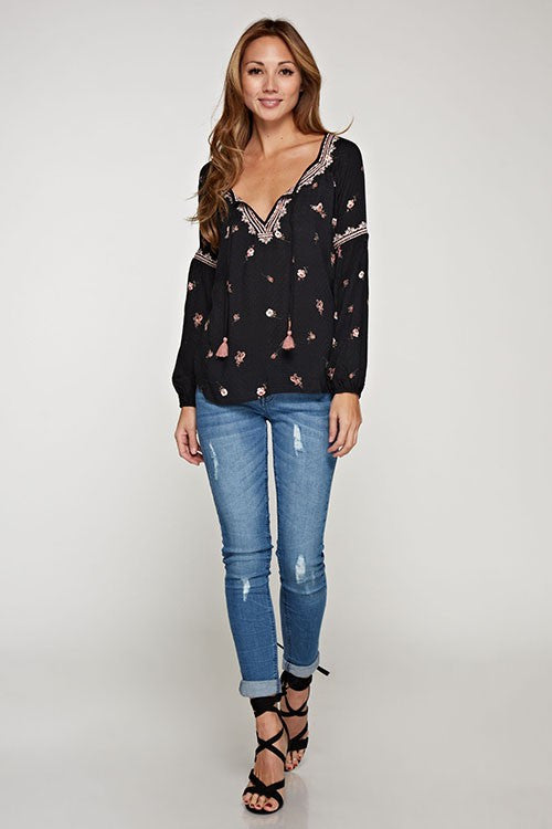 Floral Embroidered Boho Top