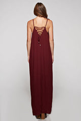 Garnet Lace Up Maxi Dress