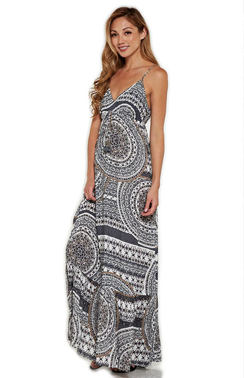 Gorgeous Grey Geo-Floral Print Maxi Dress Maxi Dress Love Stitch - Bows and Arrows FSU Seminoles and UF Gators Women's Game Day Dresses and Apparel