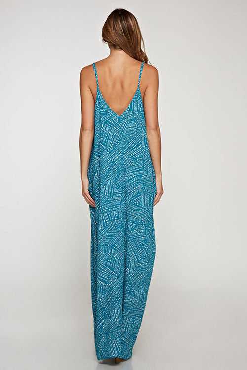 Teal Print Cocoon Maxi Dress Maxi Dress Love Stitch - Bows and Arrows FSU Seminoles and UF Gators Women's Game Day Dresses and Apparel