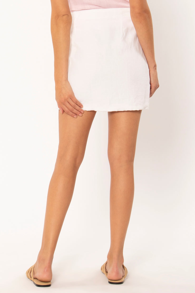 The Mari Woven Mini Skirt - White (4475252867120)