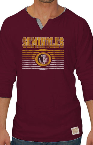 Men's Long Sleeve Seminoles Henley Tee Long Sleeve Tee Retro Brand - Bows and Arrows FSU Women's Game Day Dresses and Apparel