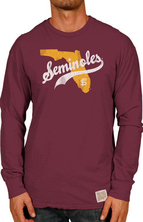 Men's Long Sleeve Seminole Slub Tee Long Sleeve Tee Retro Brand - Bows and Arrows FSU Seminoles and UF Gators Women's Game Day Dresses and Apparel