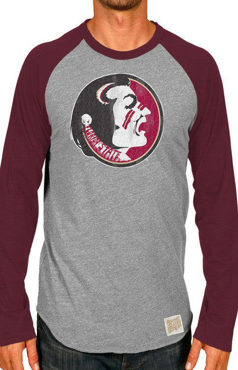 Men's Long Sleeve Vintage Seminole Baseball Tee Long Sleeve Tee Retro Brand - Bows and Arrows FSU Seminoles and UF Gators Women's Game Day Dresses and Apparel