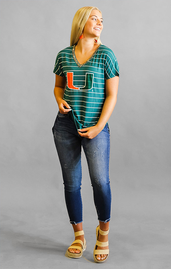Miami Pinstripe Beaded Tee