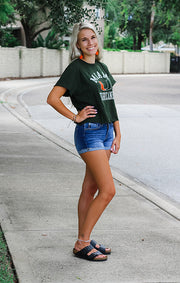 The Erin Miami Hurricanes Cropped Tee