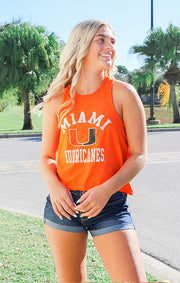 The Rachel Miami Hurricanes Crop Tank