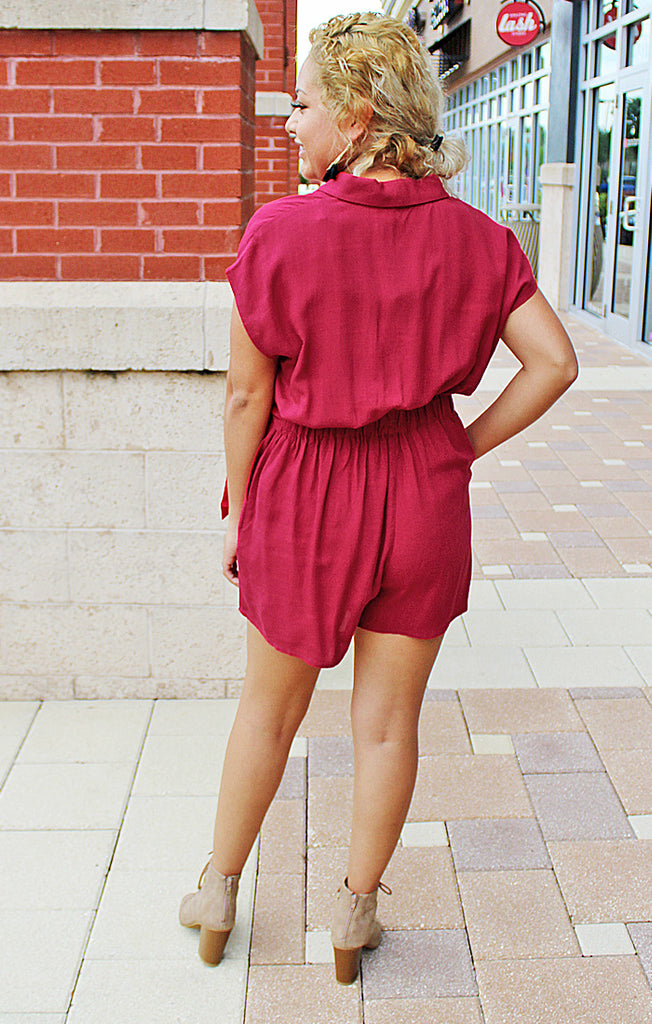 The Hometown Wrap Playsuit - Deep Berry