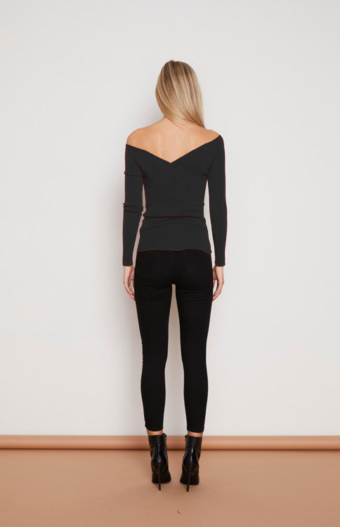Fitted Wrap Bardot Knit Top - Black